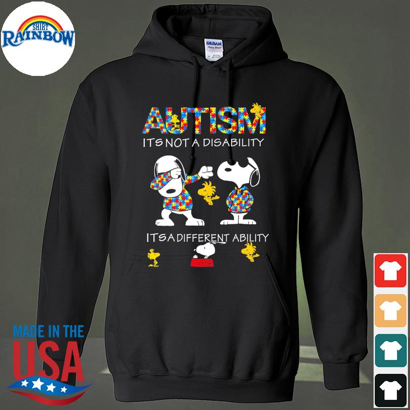 Official Dabbing Snoopy Autism it's not a disability it's a different ability s hoodie