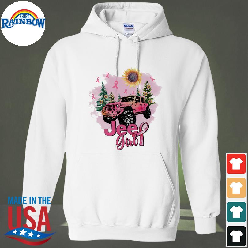 Official Sunflower and Jeep Girl Breast Cancer s hoodie